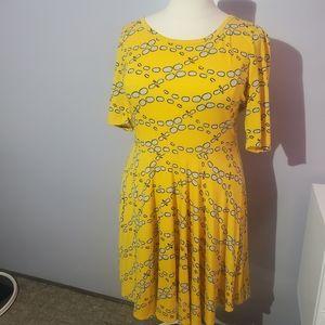 Lularoe yellow fit & flare dress